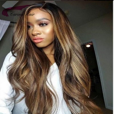 Carina 13x6 Lace Wigs Remy Human Hair Wigs With Baby Hair Pre Plucked Hairline Highlights
