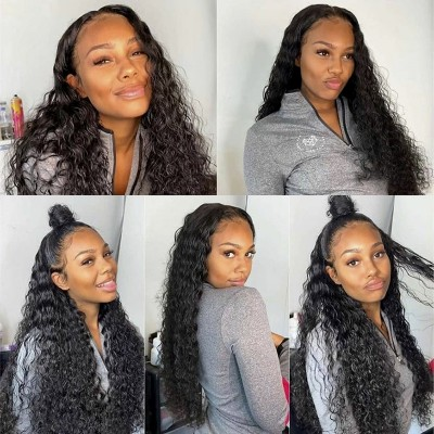 Carina Customized Deep Wave Brazilian Virgin Hair Lace Frontal Wigs Pre Plucked Hairline