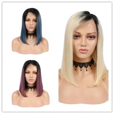 Carina Colorful Bob Lace Front Wig Brazilian Remy Straight Human Hair Bob Wigs with Baby Hair