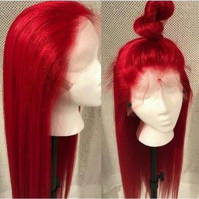 Carina Customized 180% Red Remy Human Hair Wigs Silky Straight Color Lace Wigs Pre Plucked Hairline