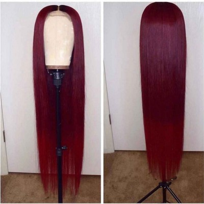Carina 99J Remy Human Hair Wigs Silky Straight Burgundy Color Lace Wigs Pre Plucked Hairline