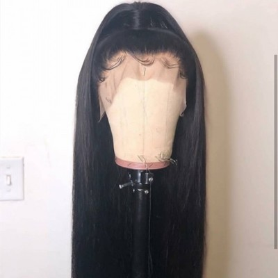Carina Silly Straight Full Lace Wigs Brazilian Virgin Human Hair Lace Front Wigs Pre-Plucked Hairline