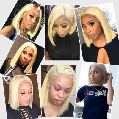 Carina Blonde 13x6 Lace Frontal Wigs Straight 613 Bob Wigs Pre Plucked