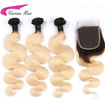 1B 613 Color Human Hair Wefts 3 Bundles with 4*4 Lace Closure