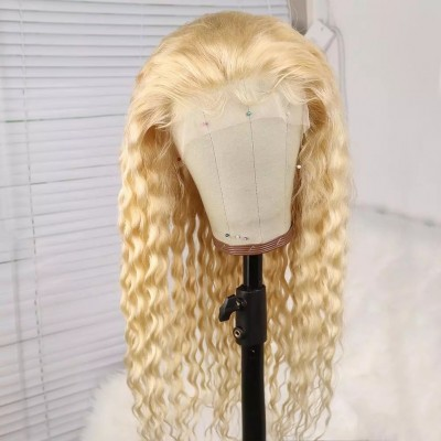 Carina Customized Curly Blonde Virgin Hair 613 Lace Wigs Pre Plucked with Baby Hair