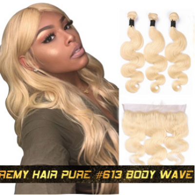 613 Bundles Straight / Body Wave Pure 613 Hair Wefts 4 Bundles with 13*4 Lace Frontal