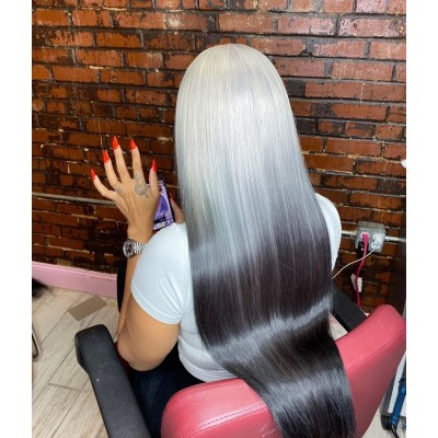 Carina Customized Grey Human Hair Wigs Silky Straight Lace Wigs Pre Plucked Hairline