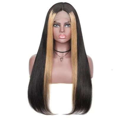 Carina Customized 10A Straight Highlights Virgin Hair Lace Wigs for Women Pre Plucked
