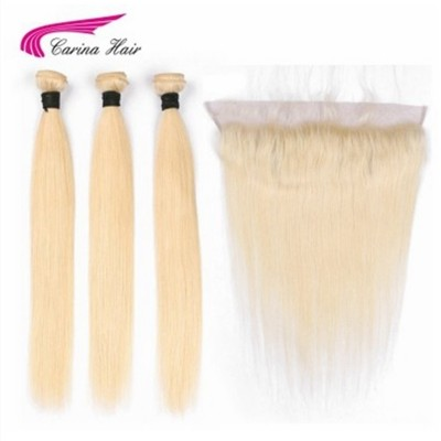Carina Pure 613 Wefts 3 Bundles with 13*4 Ear to Ear Lace Frontal