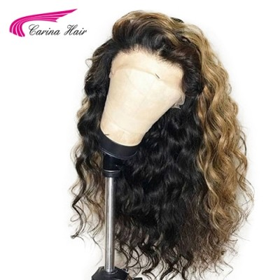 Carina Customized Loose Wave Human Hair Lace Front Wigs Highlights Full Lace Wigs for Women