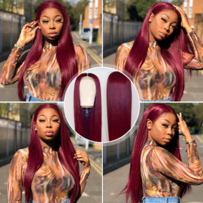 99J Remy Human Hair Wigs Silky Straight Burgundy Color Lace Wigs Pre Plucked Hairline
