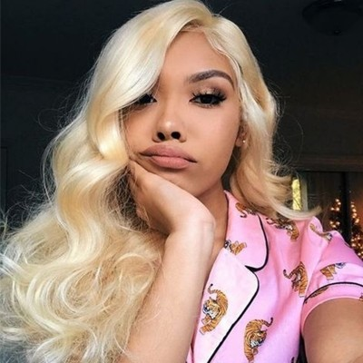 Carina Transparent Lace 613 Body Wave Blonde Human Hair Wigs Pre Plucked Hairline with Baby Hair