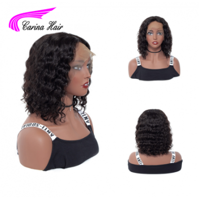 Carina 8-16 Inch Short Curly Lace Front Human Hair Wigs with Baby Hair