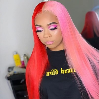 Carina Customized Blonde Black /Red Pink Straight Human Hair Wigs For Women With Baby Hair