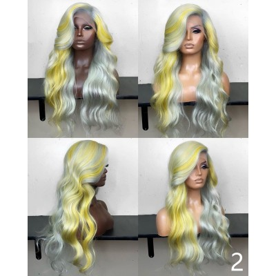 Carina Colorful Natural Wave Wigs Human Hair Full Lace Wig Pre Plucked with Baby Hair
