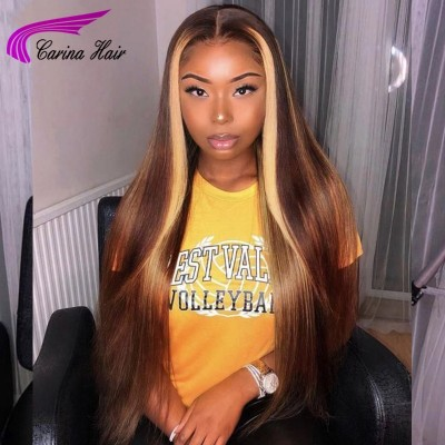 Carina Customized Highlight Virgin Hair Lace Wigs for Women Straight Full Lace Wigs