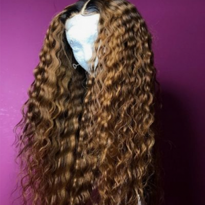 Curly Full Lace Wig with Baby Hair Ombre Color Human Hair Lace Front Wigs Pre-Plucked Hairline