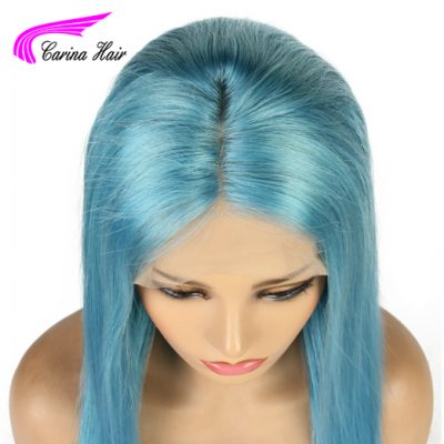 Carina Customized Light Blue Remy Human Hair Lace Front Wig Pre-Plucked Hairline with Baby Hair