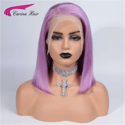 Dark/Light Purple Remy Lace Bob Wigs Pre Plucked Human Hair Full Lace Wigs with Baby Hair