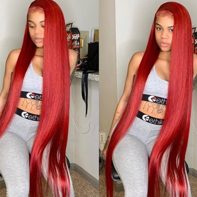 Carina Customized Red Remy Human Hair Wigs Silky Straight Color Lace Wigs Pre Plucked Hairline