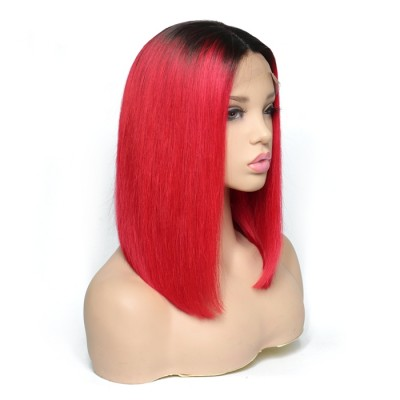 Carina Customized Ombre Red Bob Human Hair Lace Front Wigs Remy Full Lace Wig