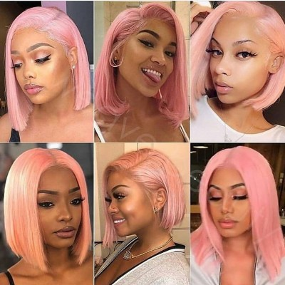 Carina Pink Bob Lace Front Wig Human Hair Pre Plucked Wig