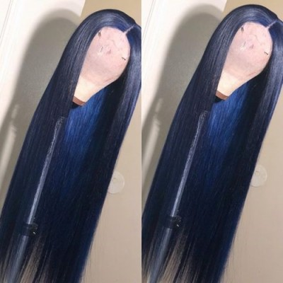Carina Customized Blue Virgin Hair Lace Front Wigs Silky Straight Full Lace Wigs Pre Plucked Hairline for Black Women