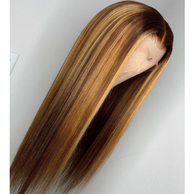 Carina Customized Straight Human Hair Wigs with Highlights Glueless Ombre Lace Wigs