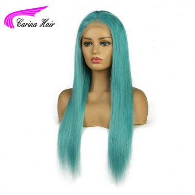 Carina Customized Mint Green Remy Hair Lace Front Wigs Full Lace Wigs Pre Plucked Hairline for Women