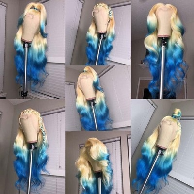 Carina Customized Ombre Blue Remy Human Hair Lace Front Wig Pre-Plucked Hairline with Baby Hair