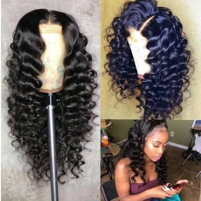 Wave Human Hair Wigs Gluesless Lace Wigs with Baby Hair Pre Plucked Hairline