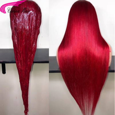 Red Color Glueless Lace Wigs Brazilian Remy Silky Straight Human Hair Wigs Pre Plucked Hairline