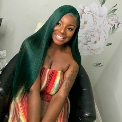 Carina Customized Green Human Hair Wigs Silky Straight  Lace Wigs Pre Plucked