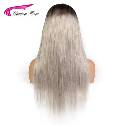 Ombre Grey Full Lace Human Hair Wigs Pre-Plucked Hairline Brazilian Straight Glueless Wig