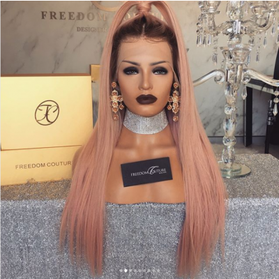 Straight Ombre Color Lace Front Wigs Brazilian Remy T4/Pink Human Hair Full Lace Wigs
