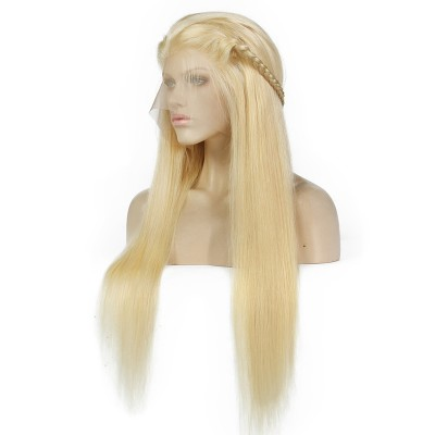 # 613 Blonde Human Hair Wigs For Women With Baby Hair Straight Glueless Lace Wigs