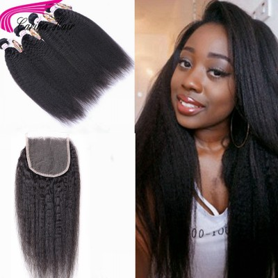 Kinky Straight Brazilian Hair Weave 4 Bundles with 4x4 Lace Closure Free Part