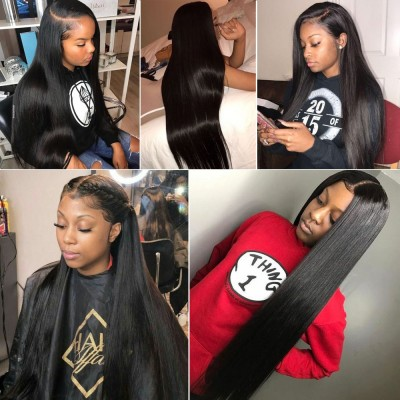 Straight 13x6 Lace Frontal Wigs Remy Silky Straight Human Hair Wigs Pre Plucked Hairline
