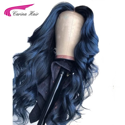 Carina Customized Dark Blue Remy Human Hair Lace Front Wig Pre-Plucked Hairline with Baby Hair Glueless Wigs