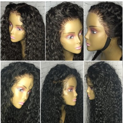 180% Density Curly Lace Wigs Brazilian Remy Human Hair Wigs Pre Plucked Hairline