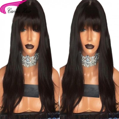 18-26 Inch 180% Density Straight Human Hair Lace Wigs with Bangs Brazilian Remy Human Hair
