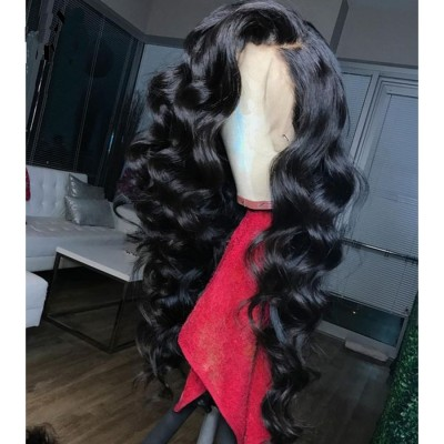 180% Density Loose Wave Human Hair Lace Wigs Pre Plucked Hairline