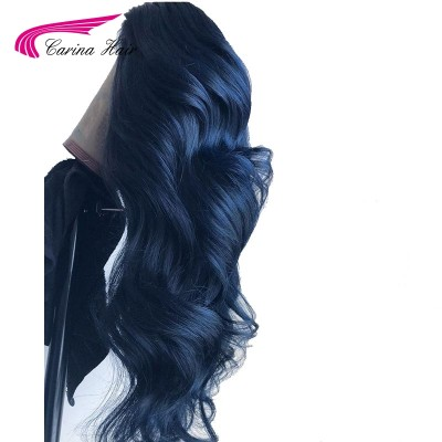 Dark Blue Remy Human Hair Lace Front Wig Pre-Plucked Hairline with Baby Hair Glueless Wigs