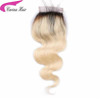 Body Wave Lace Closure 1b/613 Color Brazilian Remy Human Hair 4x4inch Closures With Baby Hair