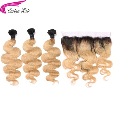 Ombre Color 1B/27 Hair Wefts 3 Bundles with 13*4 Ear to Ear Lace Frontal
