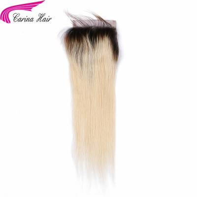 Straight Lace Closure 1b/613 Color Brazilian Non Remy Human Hair 4x4inch Closures With Baby Hair