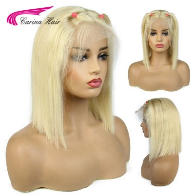 Blonde 13x6 Lace Frontal Wigs Straight Short Bob Wigs 8-14''