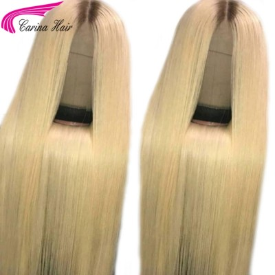 Carina #4/613 Ombre Blonde Human Hair Lace Wigs Pre Plucked with Baby Hair