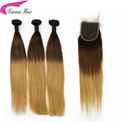 Three Tone Ombre Color Hair Wefts Silky Straight / Body Wave 3 Bundles with 4x4 Lace Closure