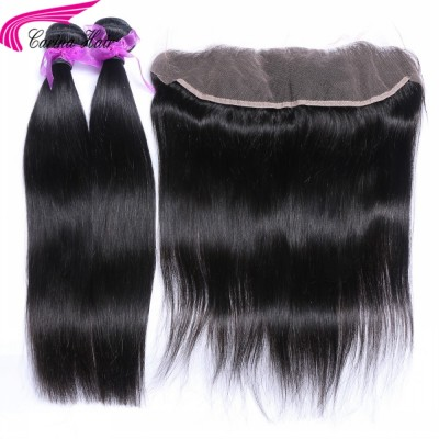 Hair Extensions 2 Bundles with 13*4 Ear to Ear Lace frontal Free Part Straight Hair